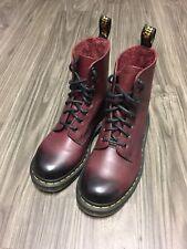 Dr. Martens 8-Eye Pascal Combat Boots 1460 Cherry Red Dark Toe Men's 6 Women's 7