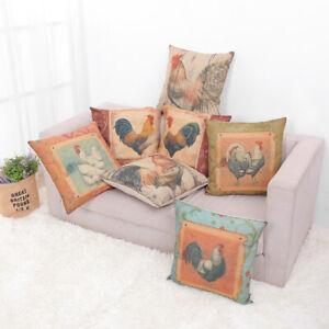 "Elegant Vintage Rooster Farm Farmhouse European Throw Cushion Pillow Covers 18"""