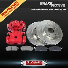 Front Red Brake Calipers And Rotors + Pads Chevy Dodge GMC K150 K2500 K33500