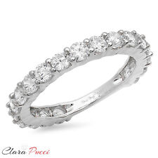 2.20 CT Round Cut 19-Stone Engagement Wedding Ring Band SOLID 14K White Gold