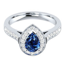 1.60Ct Blue Pear & White Sapphire Women's Engagement Ring In14Kt White Gold.
