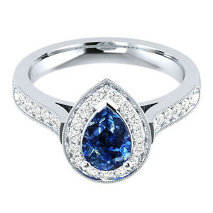 3.95Ct Blue Pear & White Sapphire Women's Engagement Wedding Ring 14K White Gold