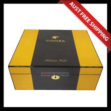 Cohiba Classic Carbon Fiber Humidor, 70+ Cedar Cigar box, Humidifier Hygrometer