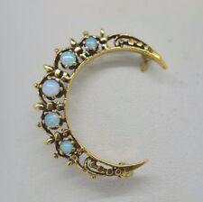 Opal Crescent Moon Pin 14k Yellow Gold and Natural