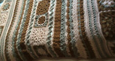 Handmade Crocheted Brown Multi Bed Or Sofa Throw, 61 x 67 Inches, Chunky