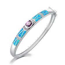 """Blue Opal Amethyst & Zircon Women Jewelry Gems Silver Bangle Bracelet 8"""" OS567"""