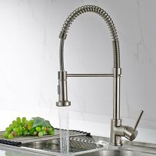 FLG Kitchen Faucet Brushed Nickel Basin Sink Mixer Taps with  Pull Out Sprayer
