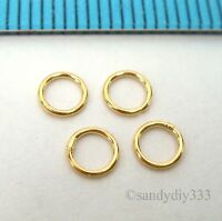 10x REAL 18K GOLD plated STERLING SILVER CLOSED SOLDERED JUMP RING 4mm 24GA G219