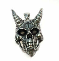 Gothic Satanic Devil Cross Stainless Steel Skull Pendant With Cross Necklace