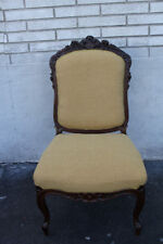 Elegant French Victorian Carved Rosewood Side End Chair, New Beige Upholstery