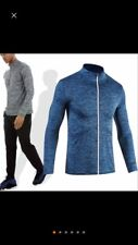 Mens Navy Blue Sport Training Athletic Jacket Crossfit Pullover Outerwear