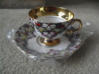 """Vintage Rosina Bone China Flowers Cup and Saucer 2 1/2"""" Tall"""