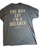 "Inspired by the Art of John Lennon Graphic T-Shirt XL  Gray ""I'm a Dreamer"""
