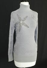Philipp Plein Top Size S Long Sleeve Turtle Neck Grey/Silver Viscose Rhinestones