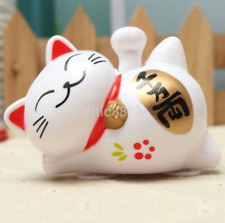 Cute Solar Powered Lucky Cat Waving Beckoning Fortune Cat Car Decor UK