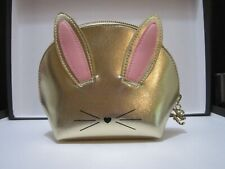 TOO FACED BE COOL NOT CRUEL GOLD BUNNY MAKEUP BAG~BRAND NEW IN PACKAGE!
