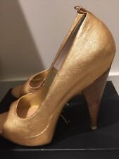 Womans Giuseppe Zanotti Homme Or Rose Bout Ouvert Talon Taille 39 NEW in Box