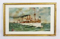 Antique 19th Century Lithograph Print United States Navy Battleship USS Maine
