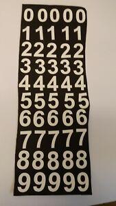 WHITE STICKY BACK VINYL NUMBERS 0 - 9 25mm HIGH x 50 MENU BOARD, ART & CRAFTS.