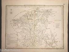 Original Antiquarian Map of Worcestershire, c1850 - Worcester, Stourport, Upton