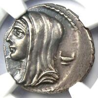 Roman L. Cassius Longinus AR Denarius Vesta Coin 63 BC - NGC Choice XF