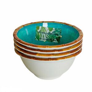 Tommy Bahama Tropical Teal Blue Bamboo Edge Melamine Salad Dessert Bowls Set 4