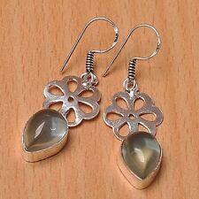 925 Silver Overlay Earrings Jewellery - Light Blue - 30mm Height - EAR-A12