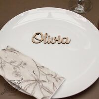 Wooden Wedding Place Name, Place Setting, Table names, laser cut names glitter