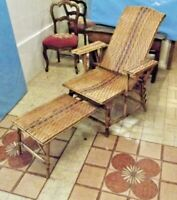 Old Armchair Chaise Longue with armrests Rattan Wicker Wood Vintage plage Garden