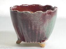 """Bonsai pot Shigaraki grès """"rouge et vert petites"""" d9cm planter japonais"""