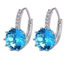Sterling Silver Pink Navy Topaz Crystal Zirconia Stud Hood Earrings Gift Box K37