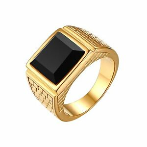 Stainless Steel Black Agate Gold Ring Band for Cool Mens Jewelry Gift Size 7-13
