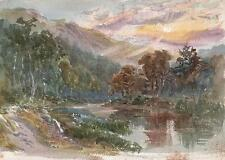 REVEREND LAURENCE GEORGE BOMFORD Painting c1895 SUN OVER MOUNTAIN & RIVER