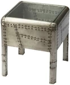 AVIATOR END TABLE SIDE INDUSTRIAL DISTRESSED GLASS ACACIA SHEET METAL