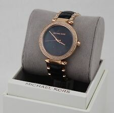 NEW AUTHENTIC MICHAEL KORS PARKER ROSE GOLD BLACK CRYSTALS WOMEN'S MK6414 WATCH