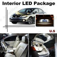 For Honda Civic 2013-2016 Xenon White LED Interior kit + White License Light LED