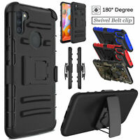 For Samsung Galaxy A11 Shockproof Hybrid Case Kickstand Holster Belt Clip Cover