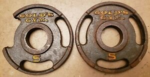Gold's Gym Vintage Pair 5lb Olympic grip weight plates 10lbs total DAMAGED