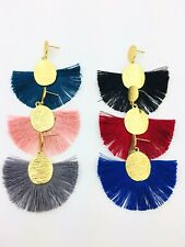 Striking and Bold Matt Hammered Gold Disc Earrings with Boho Fan Tassel Fringe