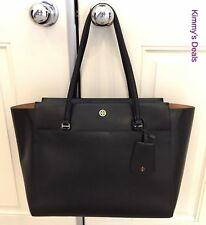Tory Burch Parker Tote In Black Leather With Brown Interior MSRP $298 Nice!