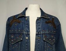 "Jeweled Denim Jean Jacket M Medium CHEST 48"" FREEGO Western Trucker Studs Beaded"