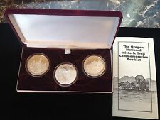 OREGON NATIONAL HISTORIC TRAIL COMMEMORATIVE  3 COIN SET EACH COIN 1 OZ SILVER .