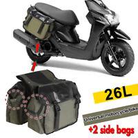 26L Universal Canvas Motorcycle Side Saddle Bag Pannier Luggage Storage  !!