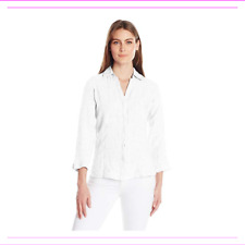 Foxcroft Women's White Button Down Tunic Top Full Sleeves Collar Size XL