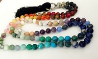 108 Stone Bead 7 Chakra Mala Rainbow Necklace or Wrap Bracelet Balancing yoga