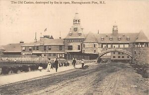 1909 Old Casino & Arch Narragansett Pier RI post card