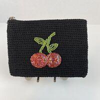 The Sak Womens Wallet Coin Purse Black Woven Zip Top Beaded Cherries Key Ring