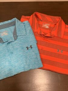 Two Mens Under Armour Heat Gear Loose Polo Shirts XXL