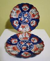 Antique Meiji Japanese Imari Scalloped Porcelain set of 2 Plates