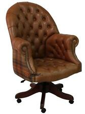 Chesterfield Directors Swivel Office Chair Old English Tan Leather+Caramel Wool